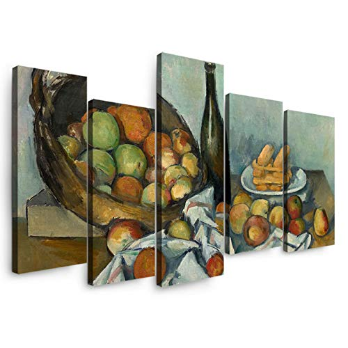 5 Panels Canvas Print Wall Art - European Painting Paul Cézanne-The Basket of Apples - Wall Decor Pictures for Living Room Modern Artwork Stretched and Framed Ready to Hang (14X284+14X40In) ()