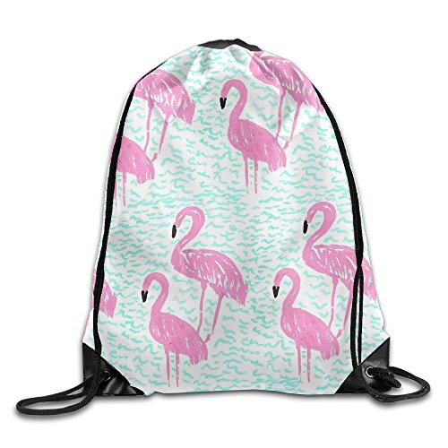 Lake Flamingos Drawstring Bag Backpack Stylish Lightweight Durable Cute Bag For Yoga Sport Travel by WSXEDC