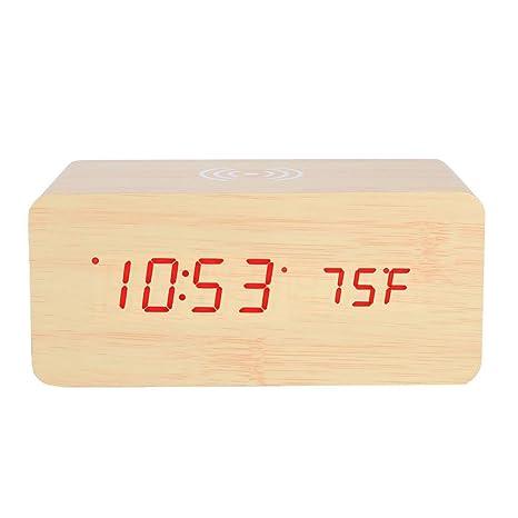 Vbestlife Despertador Altavoz Bluetooth Portátil con LED Luz Control de Sonido Reloj Digital de Espejo Muestra