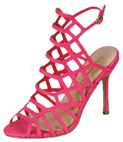 Breckelles ED32 Women Leatherette Peep Toe Hollow Out Slingback Mule (Pink Womens Sandals)