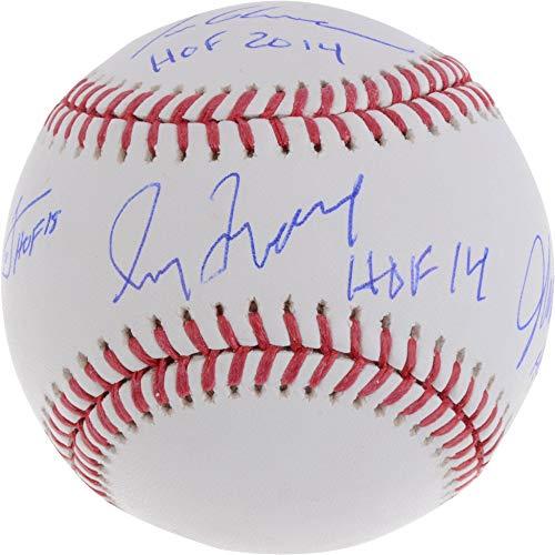 (Tom Glavine, Chipper Jones, Greg Maddux and John Smoltz Atlanta Braves Hall of Famers Autographed Baseball with HOF Inscriptions - Fanatics Authentic Certified)