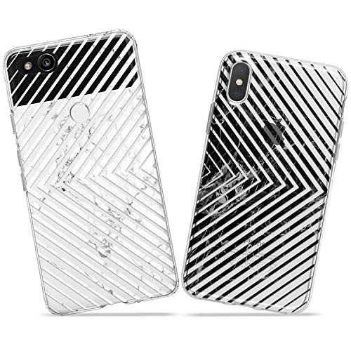 Wonder Wild Marble Square Couple Case iPhone Xs Max X Xr 10 8 Plus 7 6s 6 SE 5s 5 TPU Clear Gift Apple Phone Cover Print Protective Double Pack Silicone Geometrical Structure Lines Stone Granite Art
