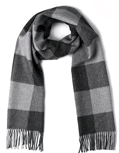 100% Pure Baby Alpaca Buffalo Plaid Scarf for Men and Women (Silver / Gray) ()