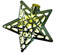 Product Works Signature Battery Operated Star Metal Cap LED Light String, Silver, 4.5-Feet