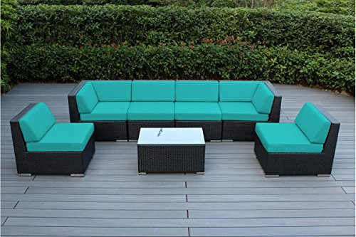 Ohana 7-Piece Outdoor Patio Furniture Sectional Conversation Set, Black Wicker with Turquoise Cushions - No Assembly with Free Patio Cover