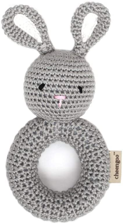 Organic Baby Toys Cheengoo Lamb Ring Rattle