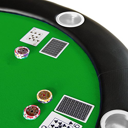 84'' 10 Player Texas Hold'em Folding Poker Table Top Green with Carrying Bag by IDS (Image #2)