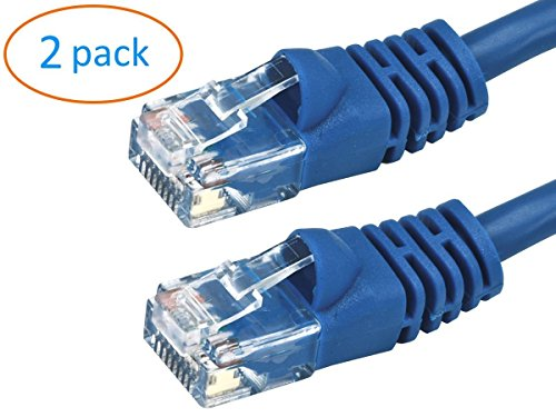 Kenuco CAT7 Double Shielded 10 Gigabit 600MHz Ethernet Patch Cable | Blue | 4ft | Pack of 2