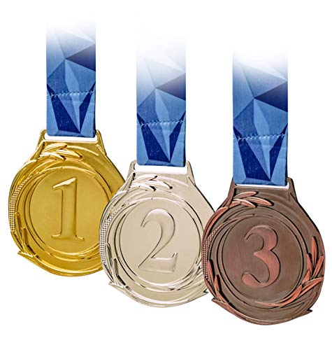 3 Piece Award Medals Set, Olympic Style Medal, Gold Silver Bronze. Made of Strong Premium Metal with V Neck Ribbon - Prize for Events, Classrooms, Office Games and Sports, 1st 2nd 3rd Place ()