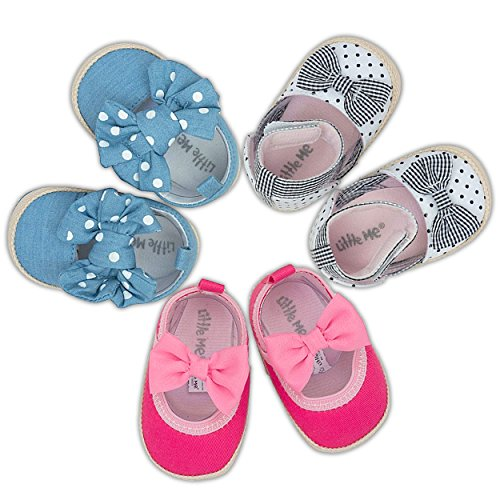 Little Me Baby Shoes - Adorable, Soft, Breathable & Comfy Toddler Shoes - Casual Baby Girls Shoes - Baby Espadrilles Featuring Charming Colors - 3-Pair Baby Walking Shoe Set - ()
