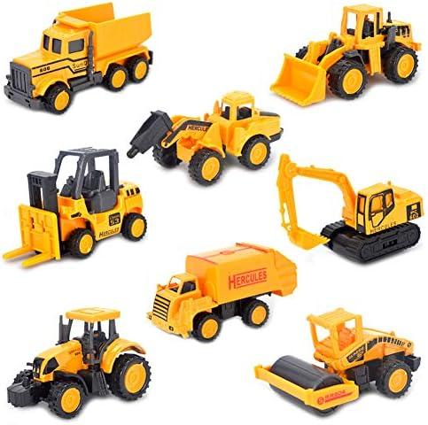 Dreamon Mini Baustellenfahrzeug Legierung Modelle Autos Spiele Fahrzeuge für Kinder Jungen, 8er Set