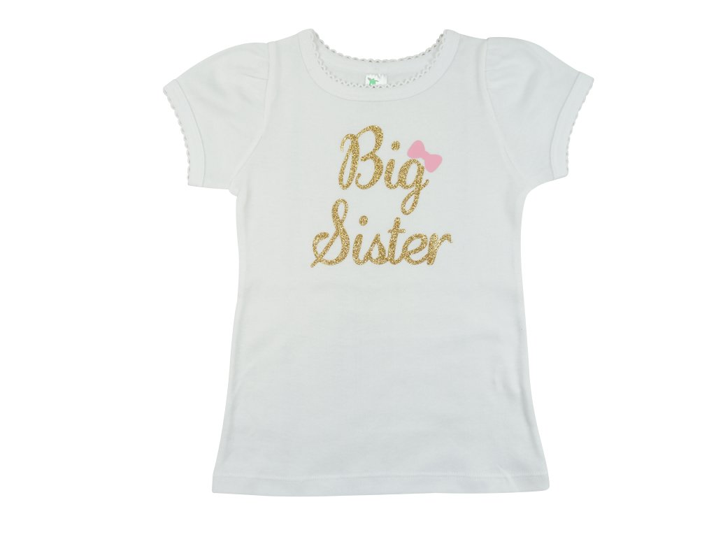 PoshPeanut Big Sister T-Shirt Round Neck Short Sleeve Shirt - Baby Girl Clothing (5T, White)