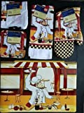 The Pecan Man Happy FRENCH CHEF Everyday Decor Kitchen Set of 7, 1 OVEN MITT & 2 Pot Holders & 2 Dish Cloths & 1 Kitchen Towel & 1 Placemat