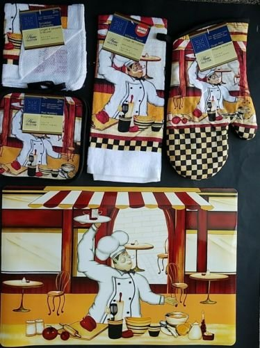 The Pecan Man Happy FRENCH CHEF Everyday Decor Kitchen Set of 7, 1 OVEN MITT & 2 Pot Holders & 2 Dish Cloths & 1 Kitchen Towel & 1 Placemat by The Pecan Man