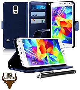 Stylish Protective 100% REAL GENUINE COW LEATHER FLIP CASE POUCH COVER CARD HOLDER WALLET FOR VARIOUS SAMSUNG GALAXY MOBILE PHONES + Includes STYLUS PEN + SCREEN PROTECTOR (SAMSUNG GALAXY S5 i9600, NAVY BLUE), [Importado de Reino Unido]