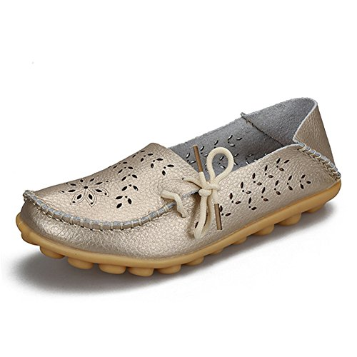 fereshte Women's Leather Moccasins Flats Casual Driving Loafers Shoes #2 Gold