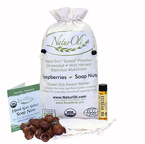 (NaturOli Soap Nuts/Soap Berries. 2-Lbs USDA ORGANIC (480 loads) + 18X BONUS! (12 loads) Select Seedless, 2 Wash Bags, Tote Bag, 8-pgs info. Organic Laundry Soap/Natural Cleaner. Processed in)
