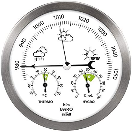 Barometer-Thermometer-Hygrometer Edelstahl Wetterstation für Innen und Außen