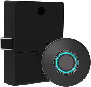 Fingerprint Lock Cabinet Locks Biometric Keyless Wooden Box Furniture Drawer Fingerprint Locks,Suitable for Home &Office (Black)