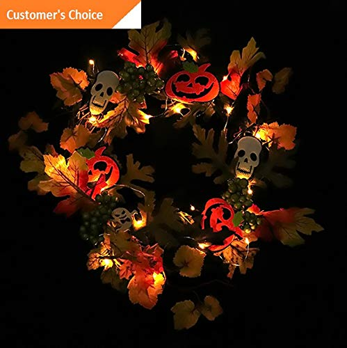 Hebel 20LED Halloween Wreath Lighted Home Restaurant Ghosts Window Door Decoration | Model ARTFCL - 827 -