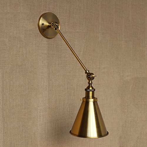 LCMJ Swing Arm Wall Lamp Brass Bedroom Reading Light Fold Adjustable Angle Modern Minimalist E27 Socket