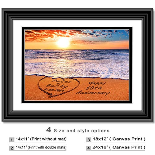Beach Lovers - Personalized artwork with Couple's Names on it, wedding Anniversary gift, Valentine's Day - Acrylic Wedding Beach