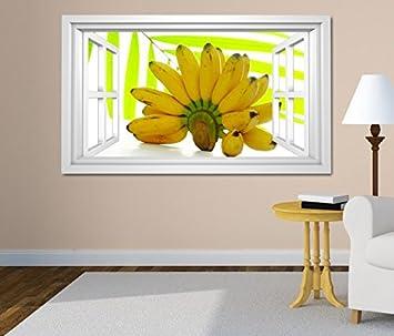 3d Wandtattoo Fenster Banane Bananen Gelb Blatter Obst
