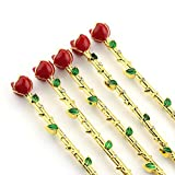 Beauty and the beast jewelry roses crystal green leaves necklace gold Makeup brush Mothers day/Valentines day gift