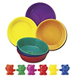School Smart Backpack Bears, Set of 102 Bears and 6 Bowls, Assorted Colors