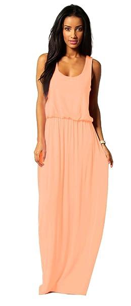 new style 375ff 21207 Damen-Kleid, Bodenlanges Maxikleid, ideal für Sommer und Urlaub,  Boho-Style, S, M, L 36 38 40 (369)