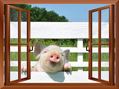 A Little Pig outside of an Open Window Removable Wall Sticker Wall Mural