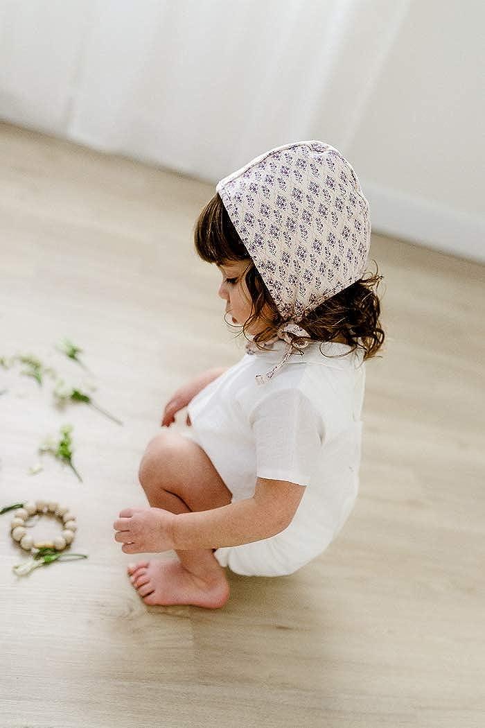 d2868cf73db Amazon.com  Jacqueline   Jac Lilies Baby Bonnet for Girls - Organic Cotton  Knit Hat w Pale Pink Vintage Flowers. (0-3 Months)  Clothing