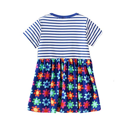 2019 Hot! Toddler Girls Dress,Kids Baby Short Sleeve Striped Floral Printed Princess Dresses Clothes Outfits Blue by Leewos-Baby Clothes (Image #1)