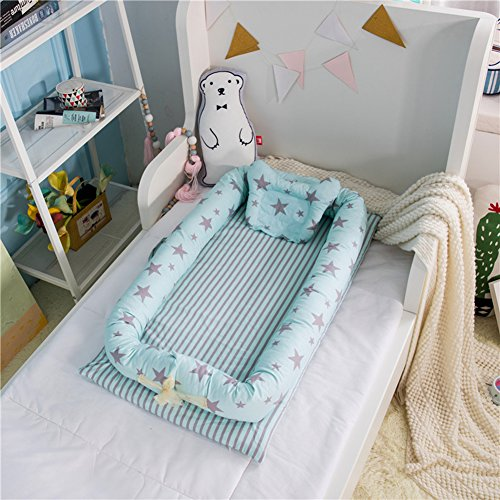 Luerme Baby Lounger Bed Baby Crib Bassinet for Bed Removable Washable Baby Nest Newborn Bionic Bed Breathable & Hypoallergenic Baby Sleeping Positioner with Bumper (Starry Sky (Nest Baby Crib)