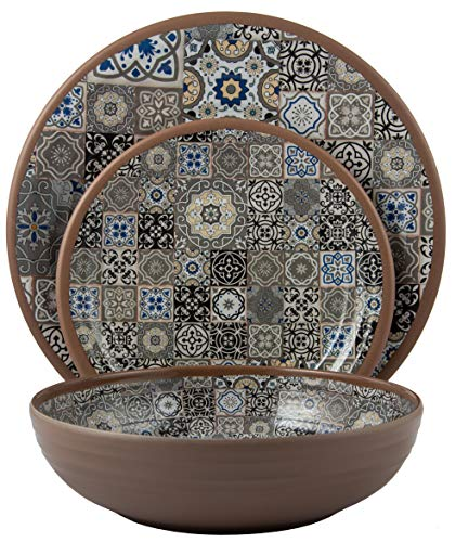 amine Dinnerware Set (Moroccan Tiles) | Shatter-Proof and Chip-Resistant Melamine Plates and Bowls | Grey | Dinner Plate, Salad Plate & Soup Bowl (4 Each) ()