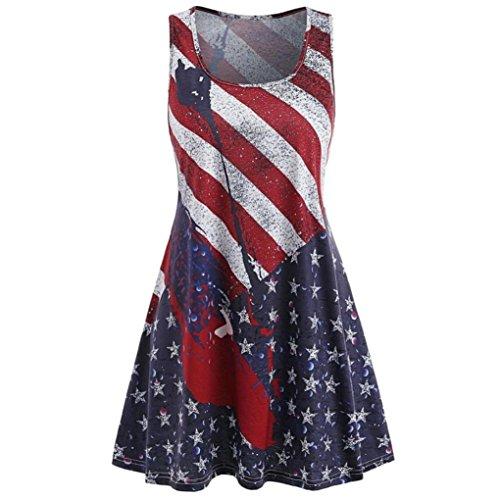 DongDong Big Promotion! Lady Dress Sleeveless Five-Pointed Star American Flag Racerback Tank Dress (Mini Big Skirt Star)
