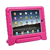 HDE iPad Air Bumper Case for Kids Shockproof Hard Cover Handle Stand with Built in Screen Protector for Apple iPad Air 1 (Hot Pink)