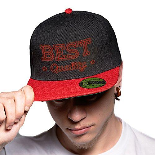 Black Red Cap Original Gorra Snapback Unisex, Ajustable, con Visera Plana y Logotipo Urbano Bordado.