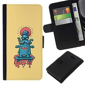SmartPhone de piel sintética carcasa con dinero ranura tarjetas para Sony Xperia M2 // Octopus mielofibrosis // CooleCell