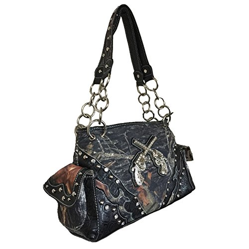 Handbag Camouflage Black and Pistol Black Brown Matching A11 Purse Wallet Rhinestone Women's in and 5117 qtfnwRtr