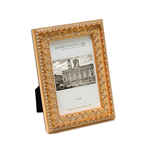 (Maxxi Designs Photo Frame with Easel Back, 8 x 10, Dark Antique Gold Leaf Casa Bella )