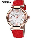 SINOBI Casual Business Women Leather Wrist Watch Roman Numeral Luminous Dial Quartz Lady Watch Rose Gold