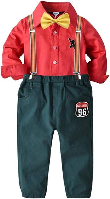 Conjunto de Traje navideño para niño Camisa de Manga Larga con Pajarita y Pantalones de Tirantes a Juego: Amazon.es: Ropa y accesorios