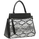 Chic Sophisticated Designer Inspired Faux Snakeskin Black Tote Handbag, Bags Central
