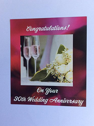 30th Wedding Anniversary Magnet with Chapagne Glasses