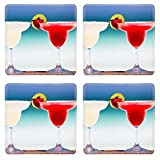 MSD Square Coasters Non-Slip Natural Rubber Desk Coasters design: 32720228 Classic and strawberry margarita cocktails at exotic Mexican beach