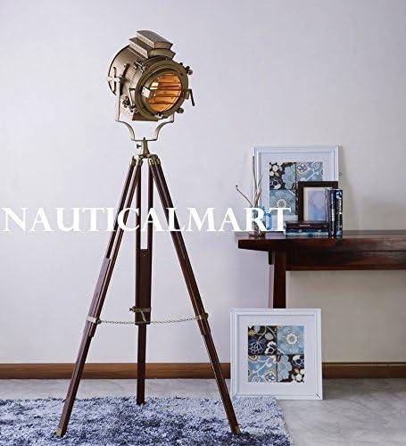 Nauticalmart Industrial Vintage Movie Cinema Style floor desk Lamp Floor Tripod Spot Light Nautical spotlight