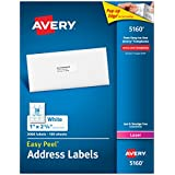 Avery Easy Peel White Mailing Labels for Laser Printers, 1 x 2.62 Inch, Box of 3000 Labels (5160)