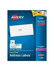 Avery Easy Peel Address Labels for Laser Printer, 1 x 2-5/8, ...