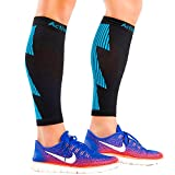 ActiveGear Calf Compression Sleeves for Men and Women to Improve Circulation and Recovery - Black/Blue S/M (One Pair)